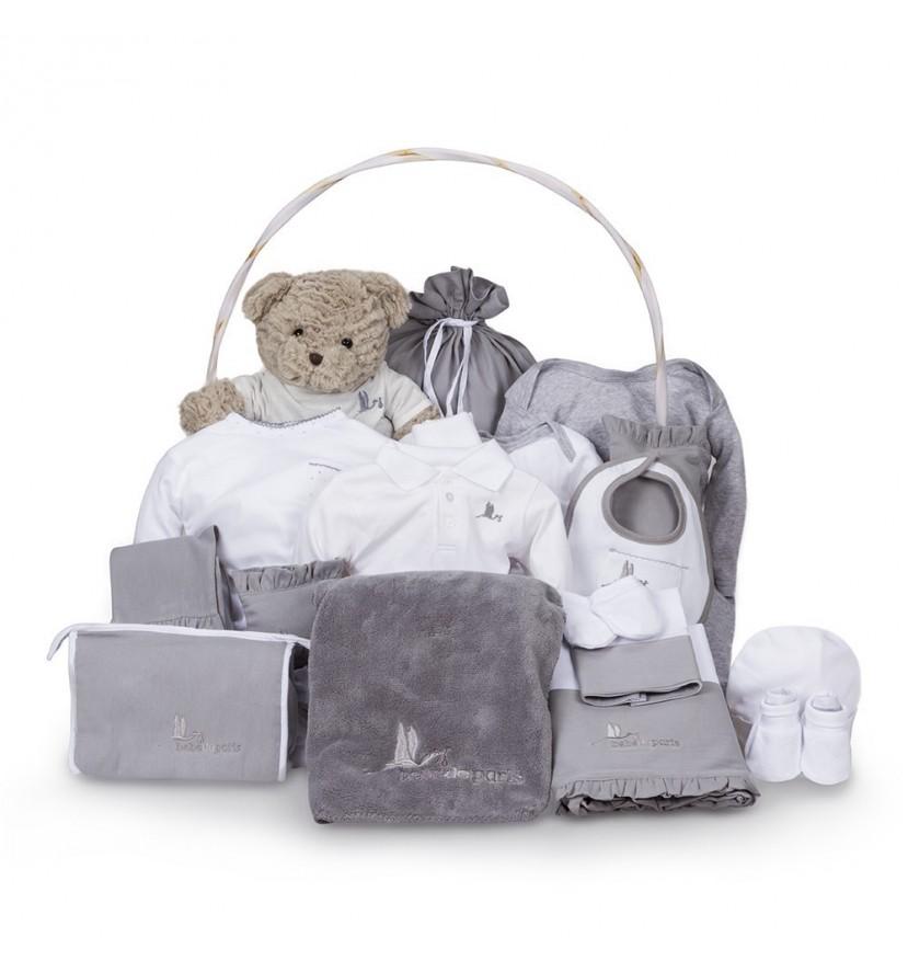 Classic Deluxe Baby Gift Basket Grey