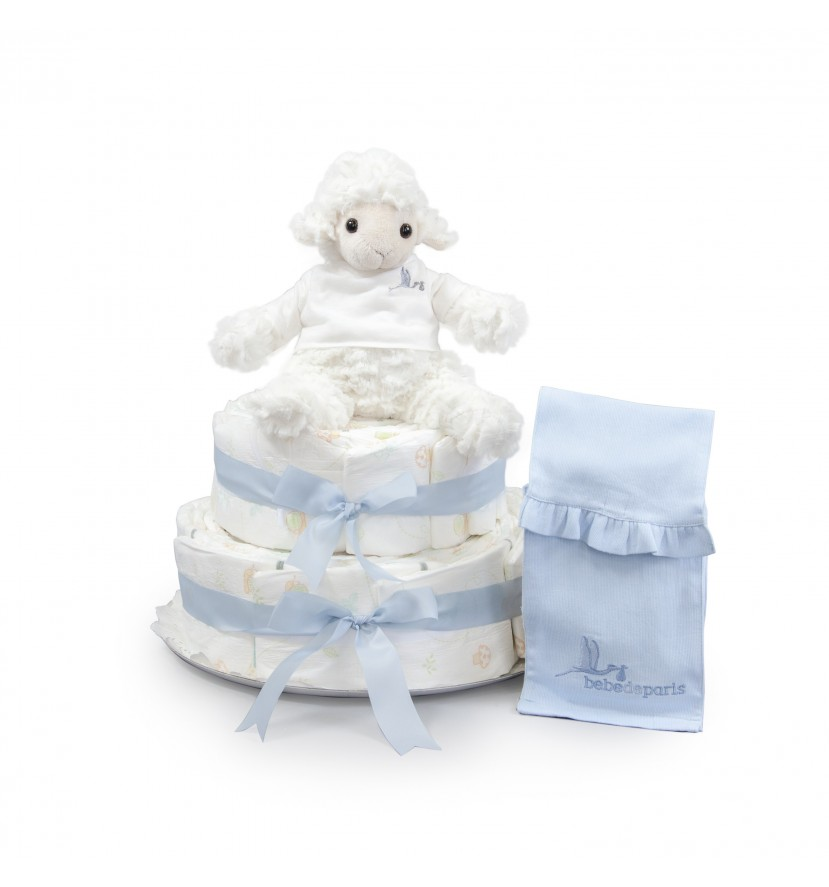 Sweet Sheep Nappy Cake Blue