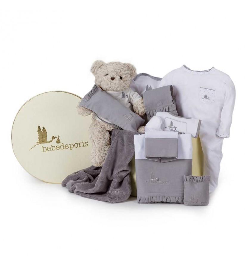 Baby Geschenkbox Klassisch Grau