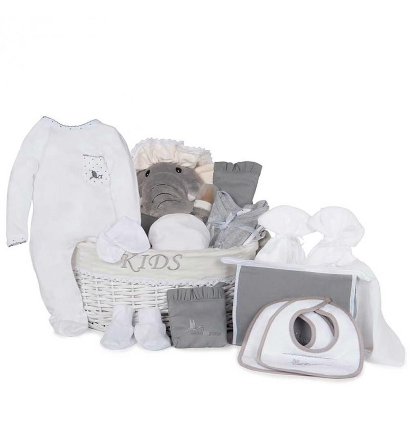 Baby Geschenkkorb Nach dem Krankenhaus Premium Grau