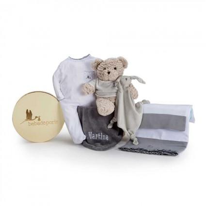 Baby Geschenkbox Mein Traum Bestickt Grau