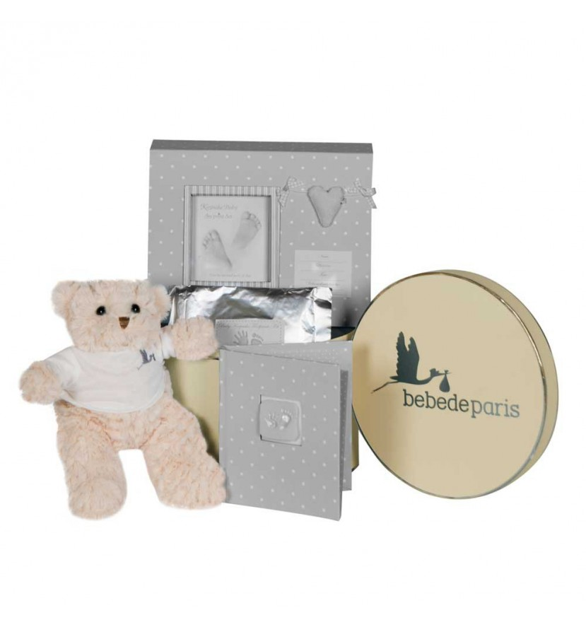 Baby Geschenkbox Happy Erinnerungen Grau