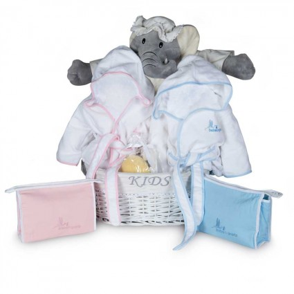 Baby Geschenkkorb für Zwillinge Badezeit