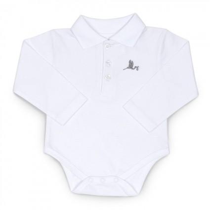 Baby Body mit Polokragen Weiß