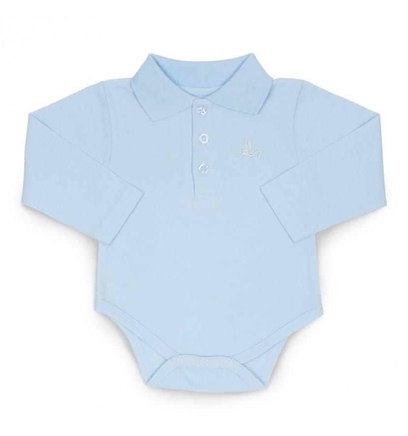 Baby Body mit Polokragen Blau