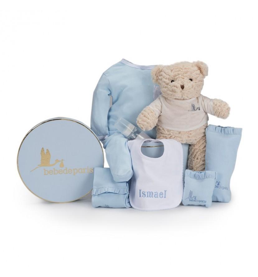 Baby Geschenkbox Mein besticktes Lätzchen Blau