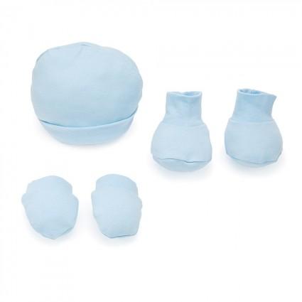 Set aus Babymütze, Handschuhen und Krabbelschuhen Blau