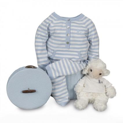 Baby Geschenkbox Happy Streifen Blau